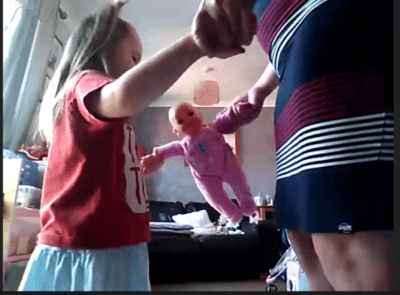 Toddler dancing with mummy